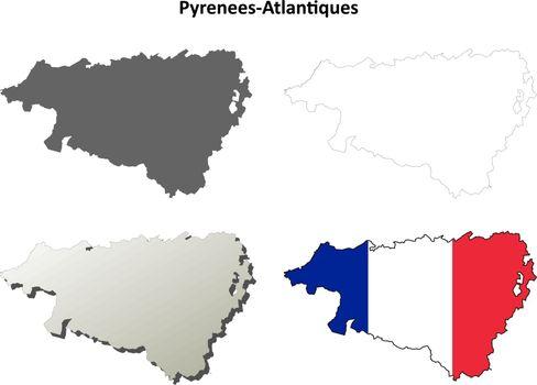 Pyrenees-Atlantiques, Aquitaine outline map set