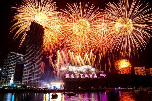 Pattaya Fireworks Countdown New Year