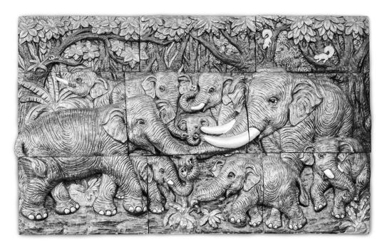 Stone carved elephants.