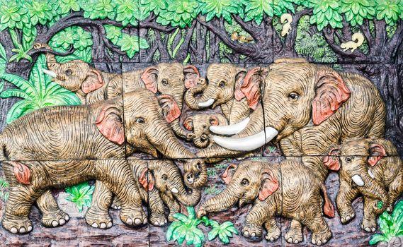 elephant Thai stucco wall