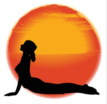 large hazy sun set over a white background with a woman practicing the Bhujangasana pose