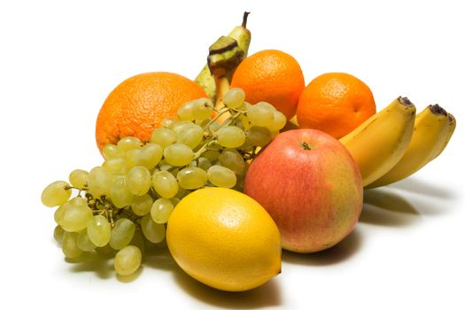 The photograph shows the fruits on white background