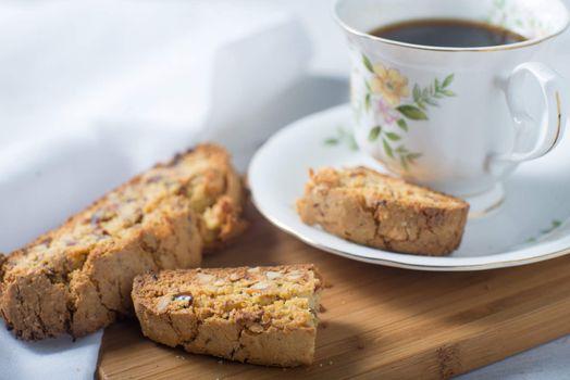 Homemade almond biscotti cooke baking