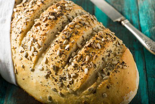 Rustic homemade artisan dough crusty bread