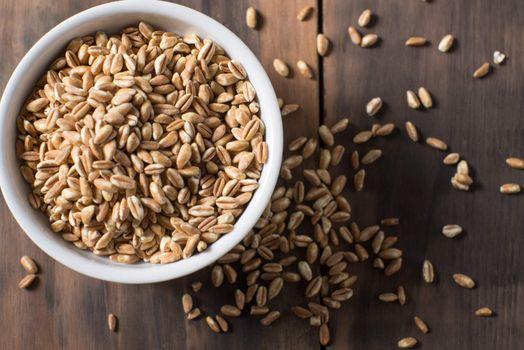 Bowl of farrow grain healthy carb seed