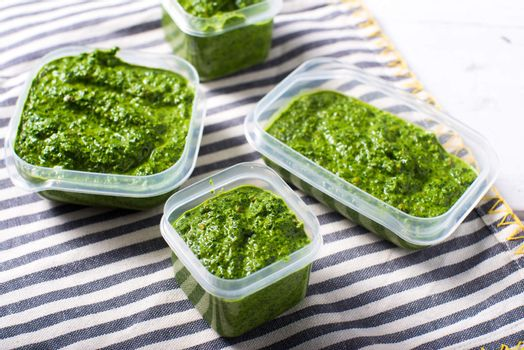 Fresh healthy Spinach pesto seeds raw