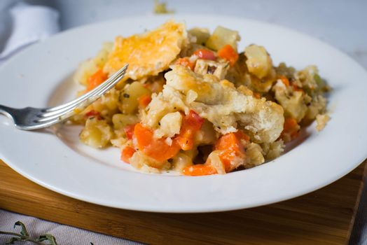 homemade vegetarian pot pie entre