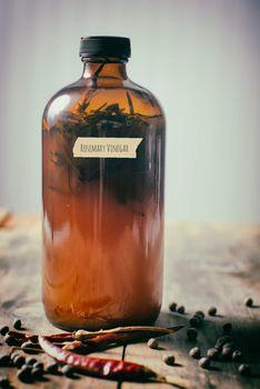 homemade fermented rosemary vinegar