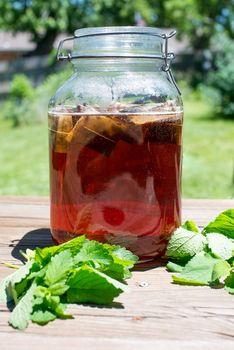 Jar of sun tea summer drink
