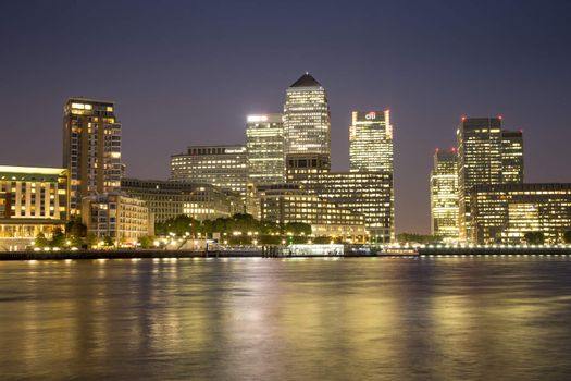 London, UK - August 7, 2015: Canary Wharf business and financial district at night