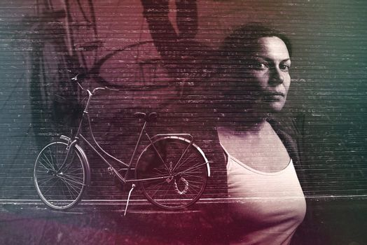 Urban biking lifestyle, multiple exposure