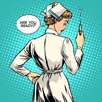 Nurse makes a shot vaccination