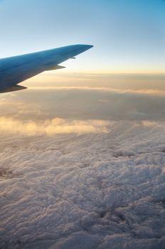 Wing aircraft at sunrise