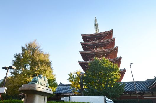 Five storey Pagoda of Senso-ji temple in Asakusa