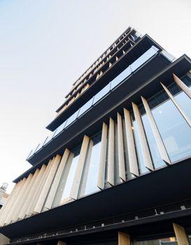 Wooden fin facade of a modern building in Asakusa