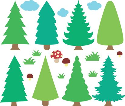 Stylized coniferous trees collection 1