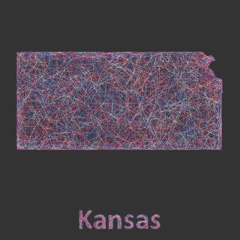 Kansas line art map