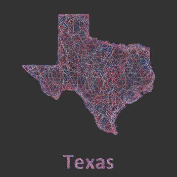 Texas line art map