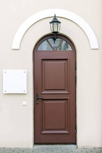 Classic style entrance doors with blank signage to add text