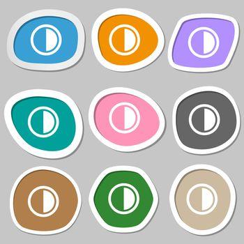 contrast icon sign. Multicolored paper stickers.