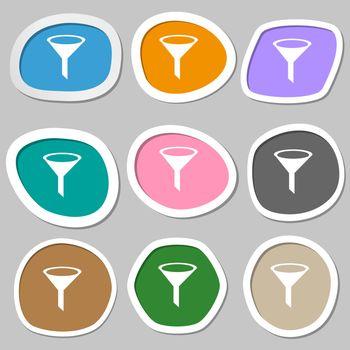 Funnel icon sign. Multicolored paper stickers.