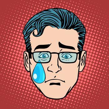 Emoji cry sadness man face icon symbol