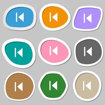fast backward icon symbols. Multicolored paper stickers.