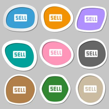Sell, Contributor earnings icon symbols. Multicolored paper stickers.