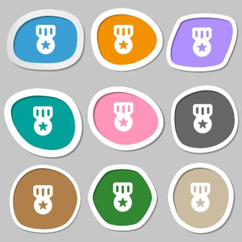 Award, Medal of Honor icon symbols. Multicolored paper stickers.