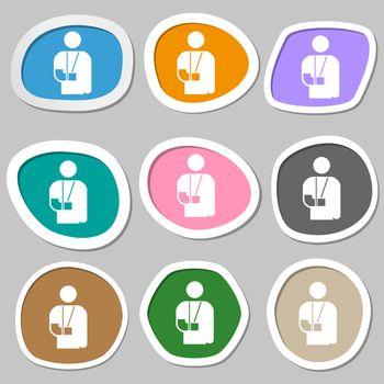 broken arm, disability icon symbols. Multicolored paper stickers.
