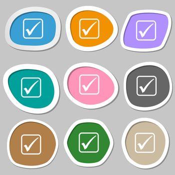 A check mark icon symbols. Multicolored paper stickers.