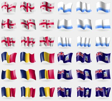 Georgia, Altai Republic, Chad, Falkland Islands. Set of 36 flags of the countries of the world.