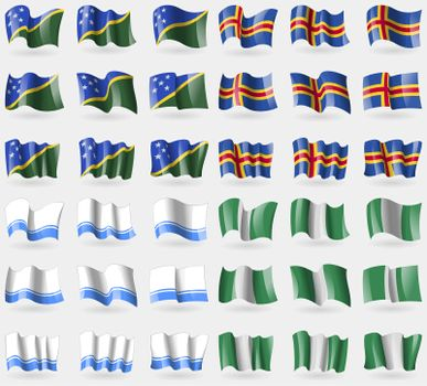 Solomon Islands, Aland, Altai Republic, Nigeria. Set of 36 flags of the countries of the world.