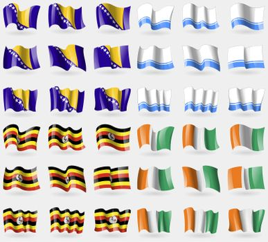 Bosnia and Herzegovina, Altai Republic, Uganda, Cote Divoire. Set of 36 flags of the countries of the world.
