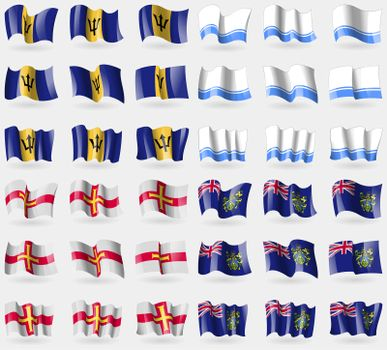 Barbados, Altai Republic, Guernsey, Pitcairn Islands. Set of 36 flags of the countries of the world.