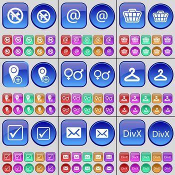 No pets allowed, Mail, Basket, Checkpoint, Gender symbols, Hanger, Tick, Message, DivX. A large set of multi-colored buttons. illustration