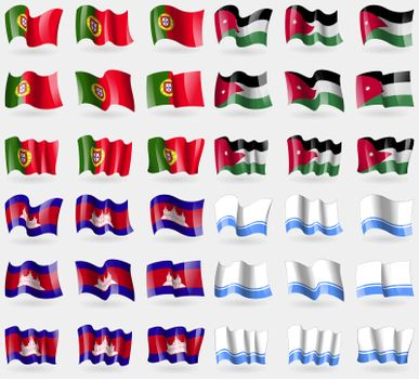 Portugal, Jordan, Cambodia, Altai Republic. Set of 36 flags of the countries of the world.