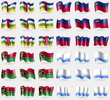 Central African Republic, Liechtenstein, Vanuatu, Altai Republic. Set of 36 flags of the countries of the world.