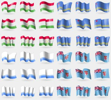 Tajikistan, Aruba, Altai Republic, Fiji. Set of 36 flags of the countries of the world.