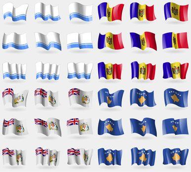 Altai Republic, Moldova, British Antarctic Territory, Kosovo. Set of 36 flags of the countries of the world.