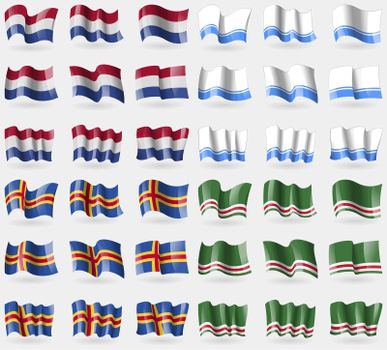 Netherlands, Altai Republic, Aland, Chechen Republic of Ichkeria. Set of 36 flags of the countries of the world.