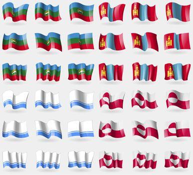 KarachayCherkessia, Mongolia, Altai Republic, Greenland. Set of 36 flags of the countries of the world.