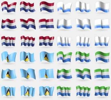 Netherlands, Altai Republic, Saint Lucia, Sierra Leone. Set of 36 flags of the countries of the world.