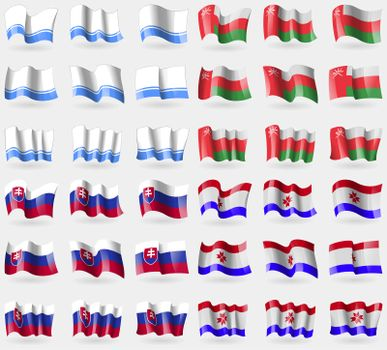Altai Republic, Oman, Slovakia, Mordovia. Set of 36 flags of the countries of the world.