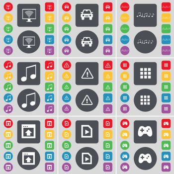 Monitor, Car, Notes, Warning, Apps, Window, Media file, Gamepad icon symbol. A large set of flat, colored buttons for your design.