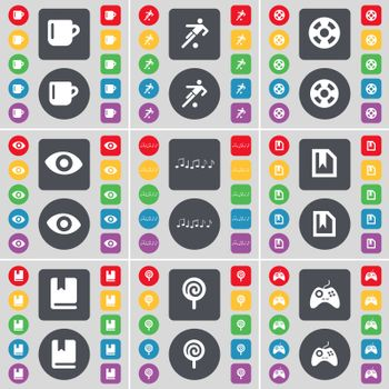 Cup, Silhouette, Videotape, Vision, Note, File, Dictionary, Lollipop, Gamepad icon symbol. A large set of flat, colored buttons for your design.