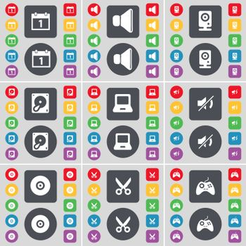 Camera, Sound, Speaker, Hard drive, Laptop, Mute, Disk, Scissors, Gamepad icon symbol. A large set of flat, colored buttons for your design.