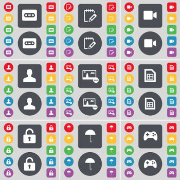 Cassette, Notebook, Film camera, Avatar, Picture, File, Lock, Umbrella, Gamepad icon symbol. A large set of flat, colored buttons for your design.