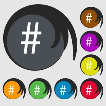 hash tag icon. Symbols on eight colored buttons.