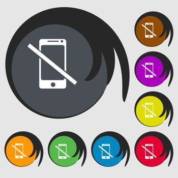 Do not call. Smartphone signs icon. Support symbol. Symbols on eight colored buttons.